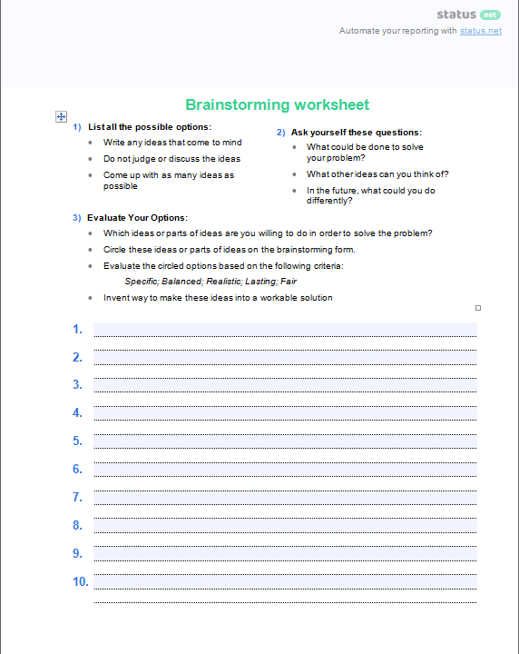 Brainstorming Templates 4