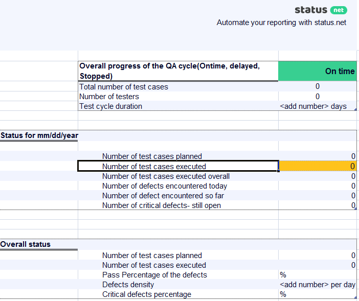 QA Daily Status Report Template 2 ...  Daily Status Report Template