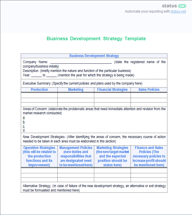 A great business development status report template free download business development status report flashek Gallery