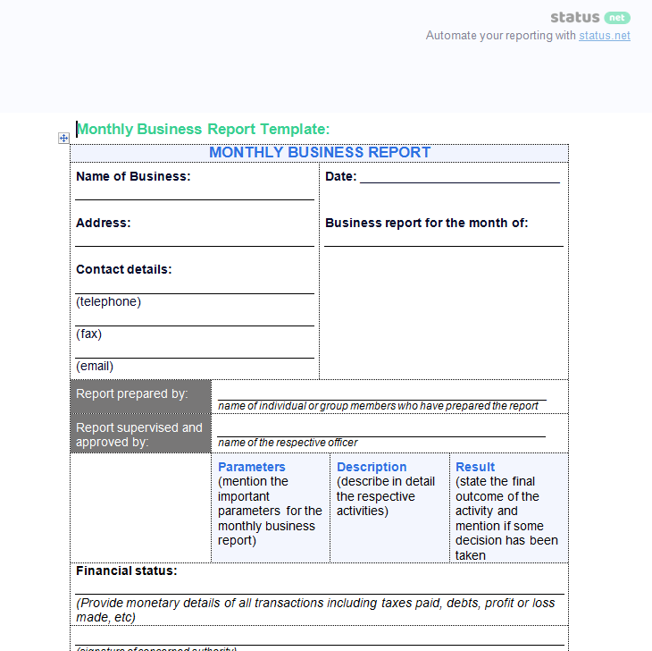 Progress Report Template  Business Templates