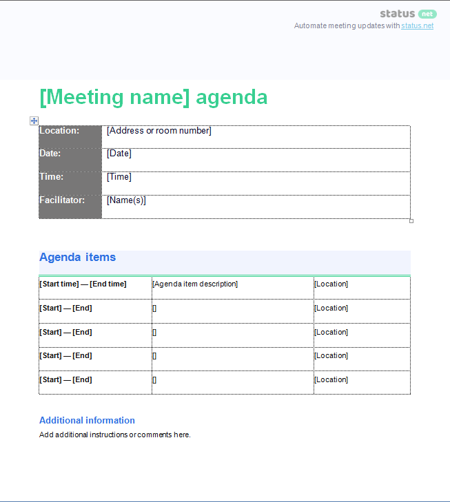 business meeting template