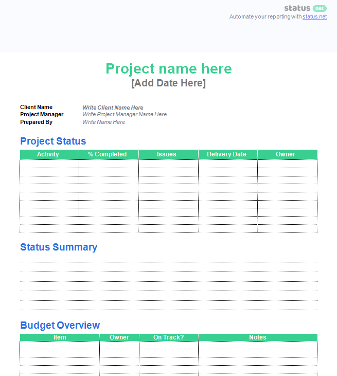 Client Customer Status Report Template 2
