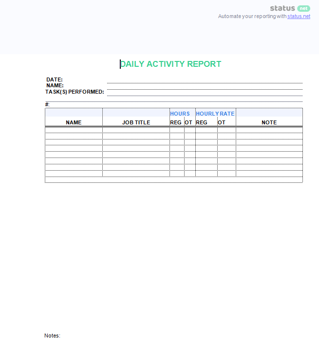 Daily Activity Report Template 2