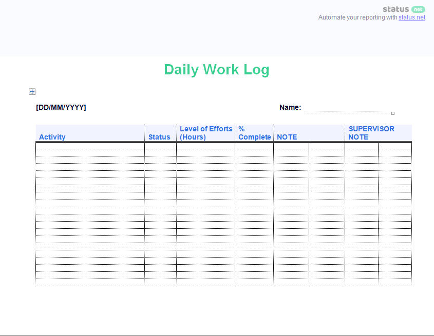2 easy to use daily work log templates free download
