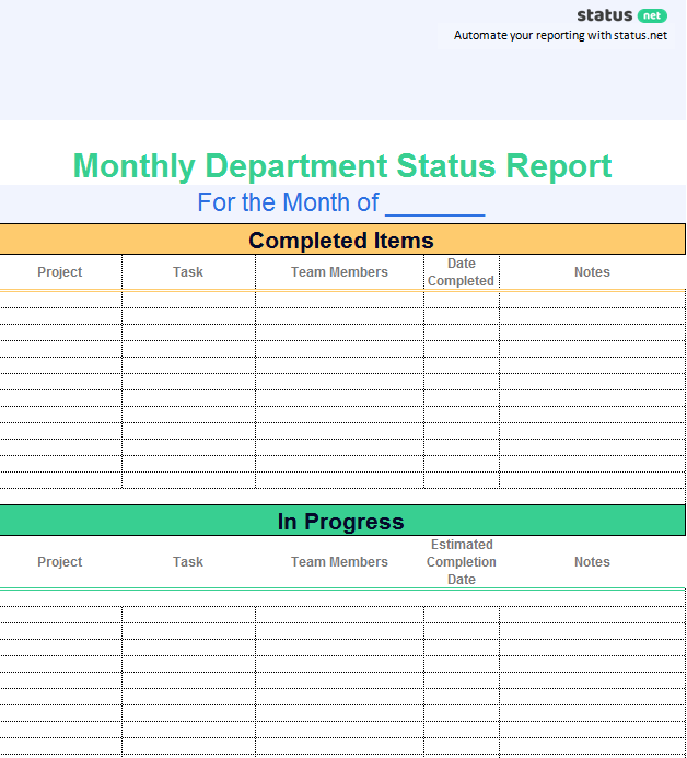 2 Really Simple Department Status Report Templates | Free