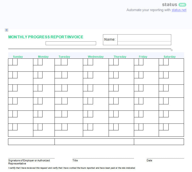 Download Monthly Report Template DOC. General Progress Report 4  End Of Month Report Template