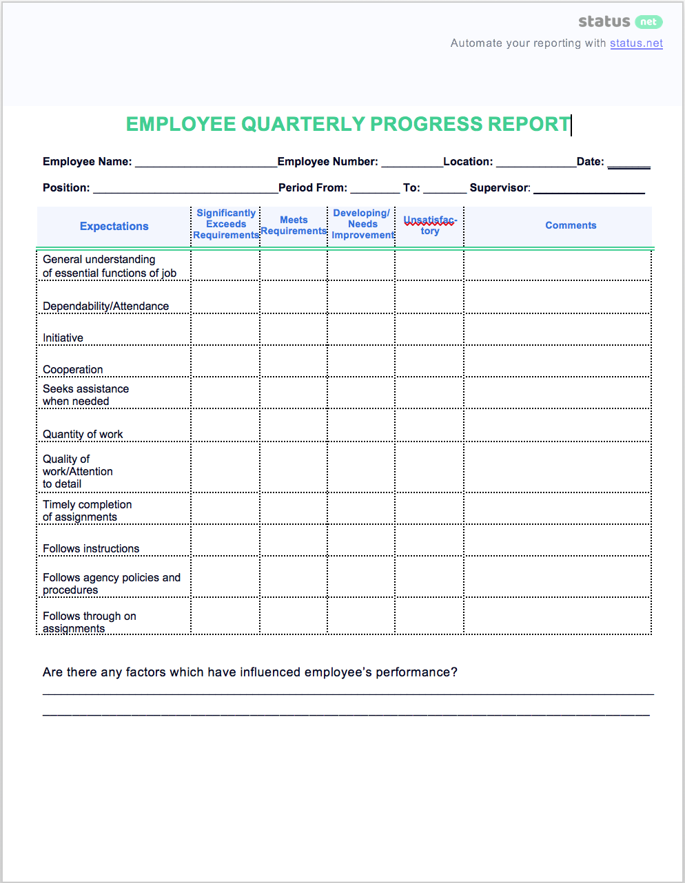 2 easy quarterly progress report templates free download for Staff progress report template
