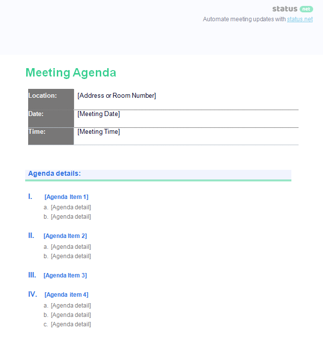 general meeting template