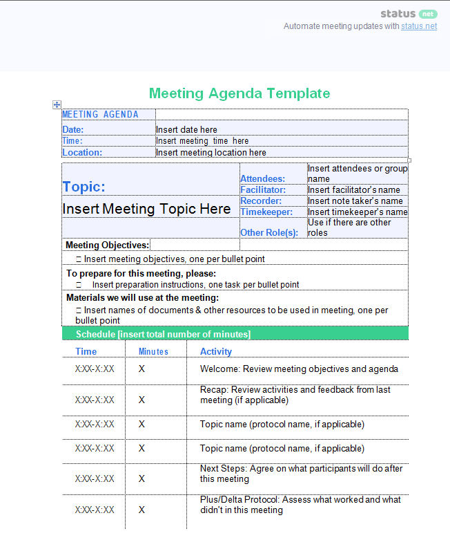 Effective Leadership Meeting Free Agenda Templates