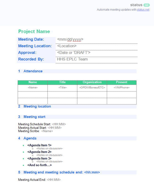 Meeting Minutes Templates 2 ...  Meeting Minutes Templates Free