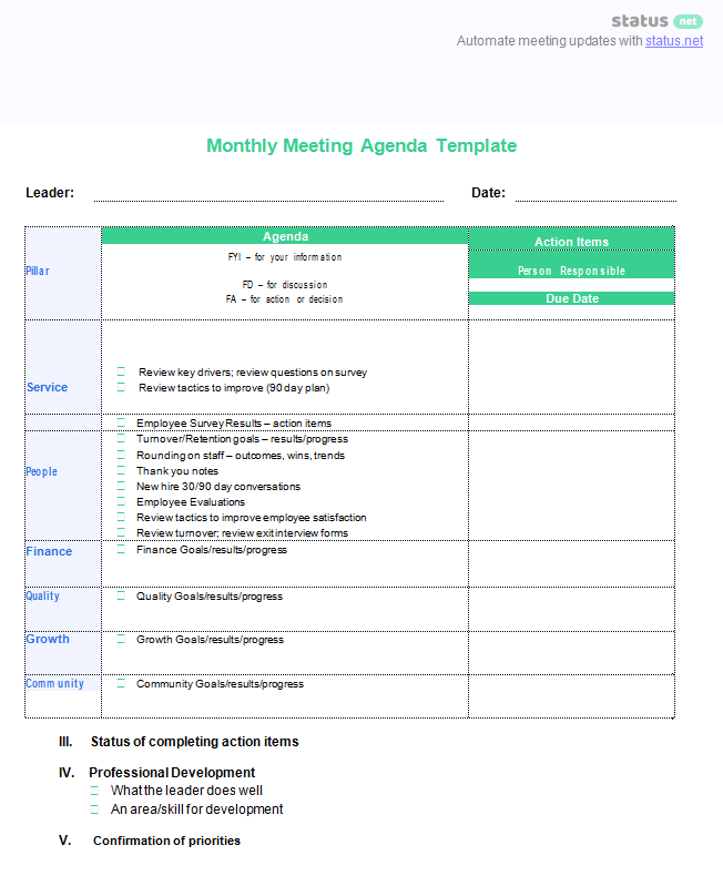 monthly meeting template