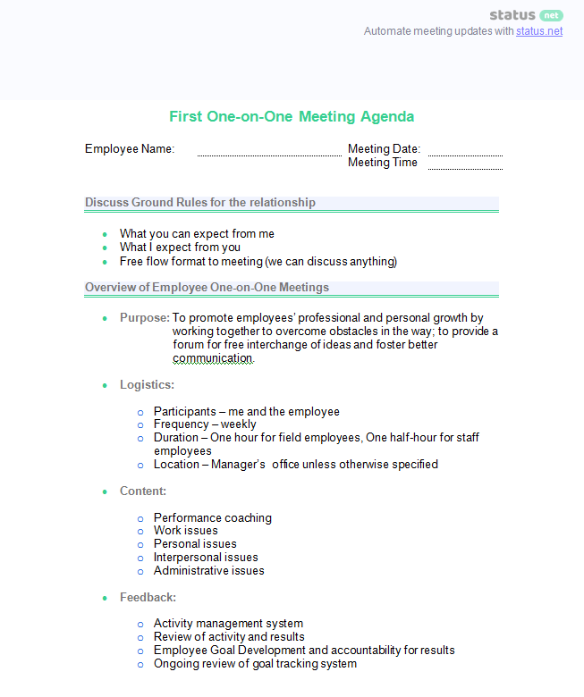 one on one meeting sample questions and 2 best agenda templates