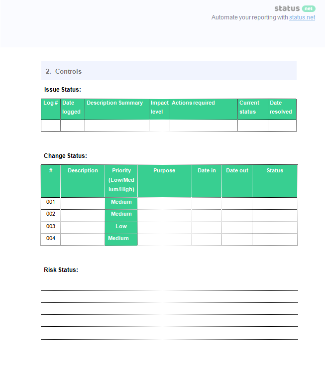 project management report screen p2