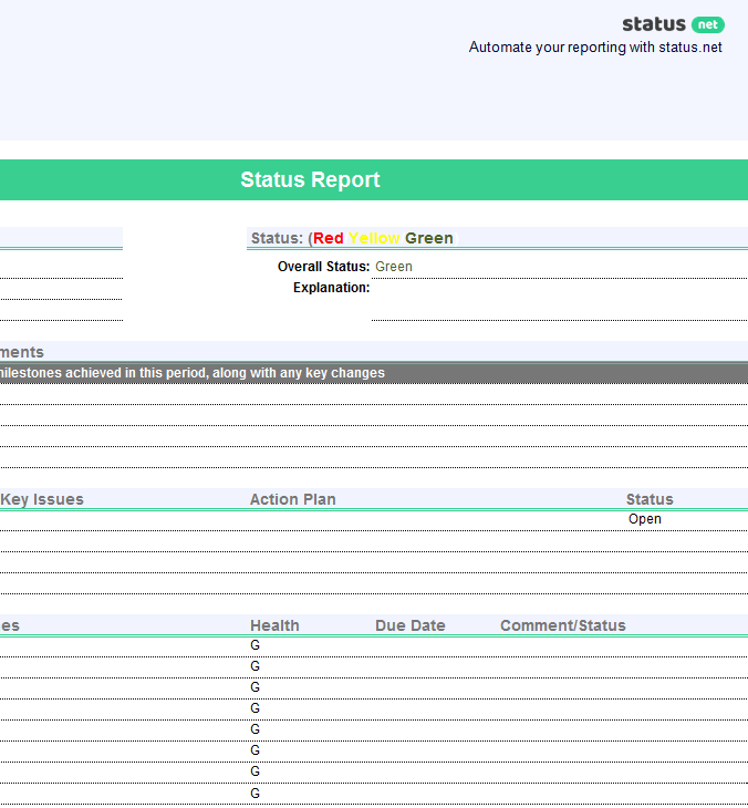 1 smart project status report template free download