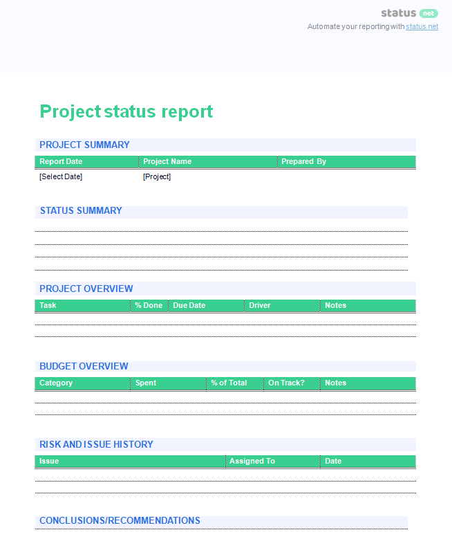 project update report 2