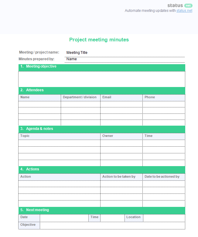 minutes of meeting template free download