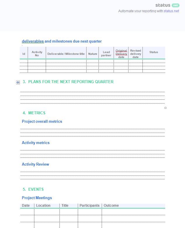 2 easy quarterly progress report templates free download