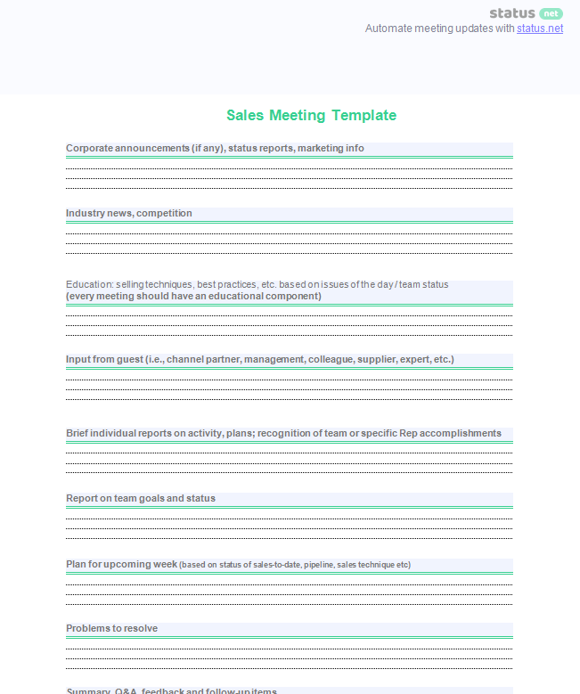 conducting a productive sales meeting 2 agenda templates download