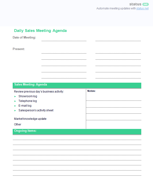 conducting a productive sales meeting  2 agenda templates