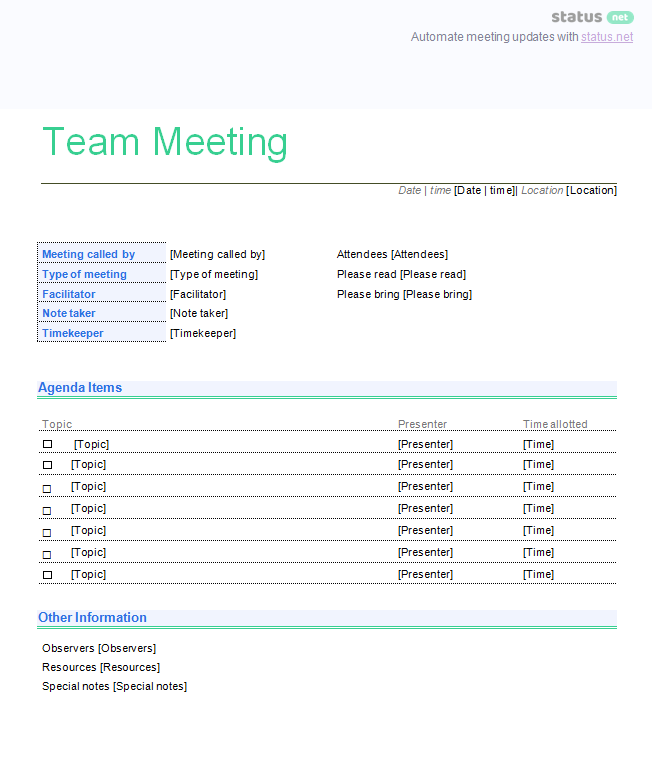 Team Meeting Template: Free Download  Managers Meeting Agenda Template