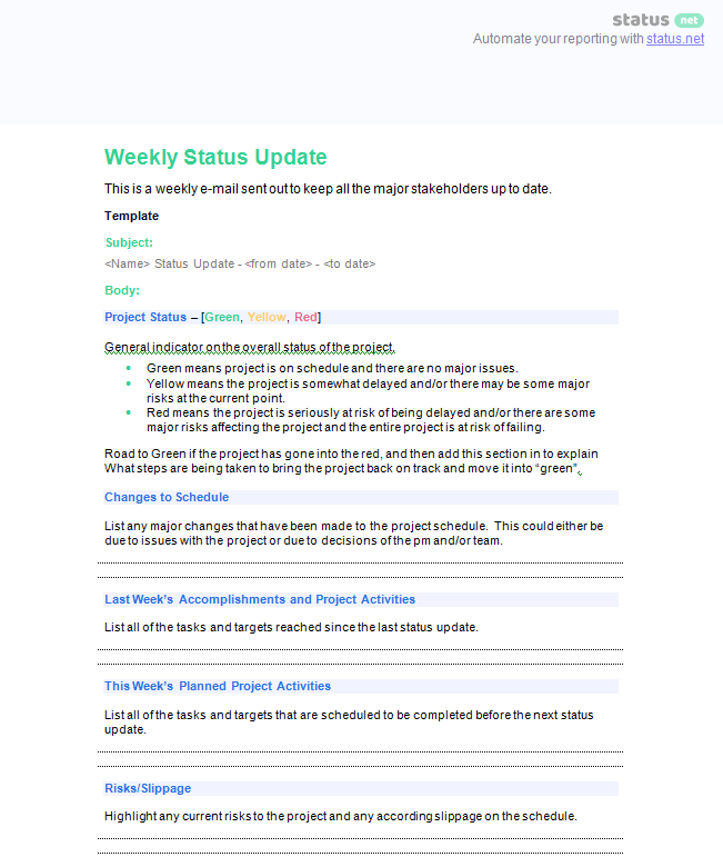 2 Impressive Weekly Project Report Templates | Free Download