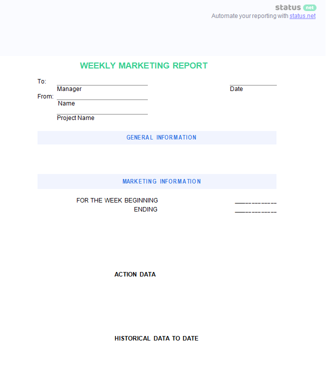 Weekly Report Template Marketing