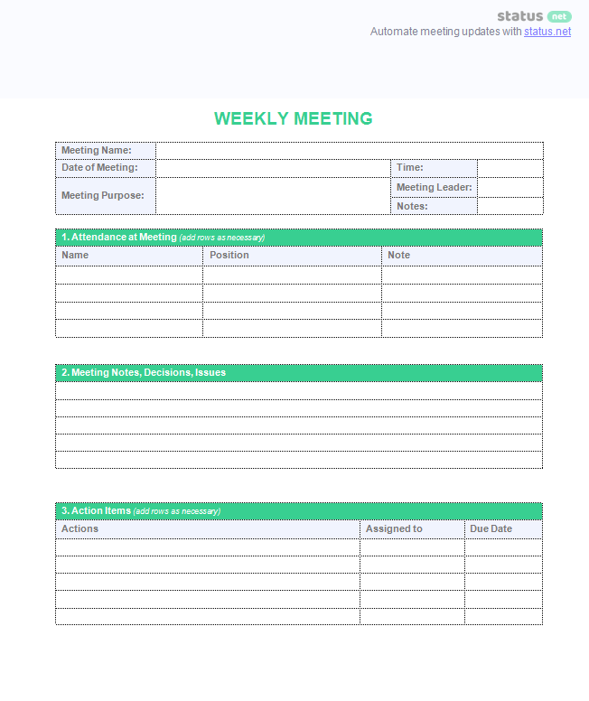 weekly meeting agenda template download plus sample schedule